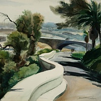 emil kosa, architectural, landscape, Los Angeles Romantic-Bridges.jpg