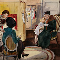 Dorthea Cook, watercolor, genre, narrative, figurative, interior, play, children, Dorothea Cook the puppet show