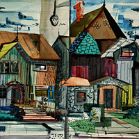 The Hilbert Collection urban, semi-abstract, abstract, watercolor, Frank Ackerman Street Front