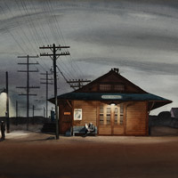 millard sheets, watercolor, night scene, automotive, train, railroad, 1930s, san dimas, millard sheets san dimas train station